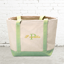 Name & Initial #1 Personalised Lime Green Canvas Tote Bag (Small)