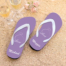 Infinity Love Lavender Personalised Flip Flops, Kids Medium