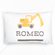 Excavator Personalised Name Pillowcase For Kids