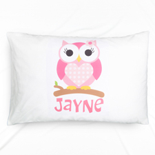 Pink Owl Personalised Name Pillowcase For Kids