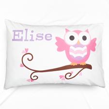 Pink Owl Personalised Pillowcase
