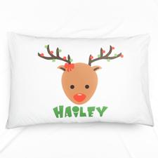 Reindeer Personalised Name Pillowcase For Kids