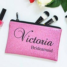Real Glitter Hot Pink Personalised Cosmetic Bag For Bridesmaids, 9.5