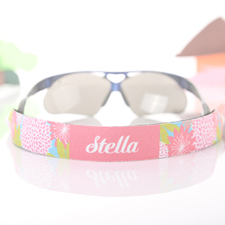 Pink Floral Personalised Sunglass Strap