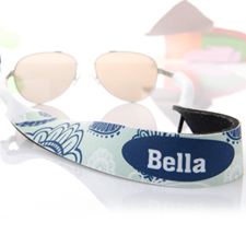 Aqua And Blue Floral Personalised Sunglass Strap