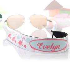 Aqua And Pink Flamingo Personalised Sunglass Strap
