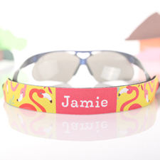 Yellow And Pink Flamingo Personalised Sunglass Strap