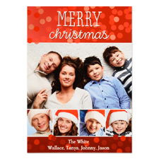 Merry Christmas Five Collage Personalised Photo Card