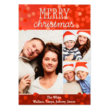 Merry Christmas Three Collage Personalised Photo Card