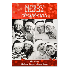 Merry Christmas Four Collage Personalised Photo Card