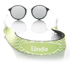 Lime Chevron Monogrammed Sunglass Strap
