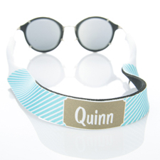 Aqua Stripe Monogrammed Sunglass Strap