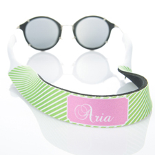 Lime Green Stripe Monogrammed Sunglass Strap