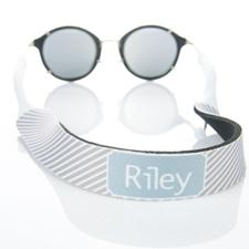 Grey Stripe Monogrammed Sunglass Strap