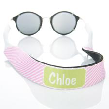 Pink Stripe Monogrammed Sunglass Strap