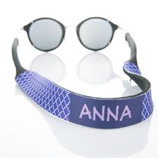 Purple Quatrefoil Monogrammed Sunglass Strap