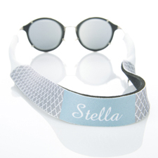 Grey Quatrefoil Monogrammed Sunglass Strap