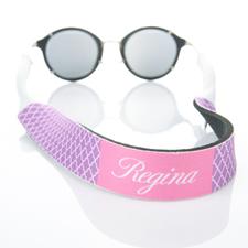 Lavender Quatrefoil Monogrammed Sunglass Strap