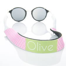 Pink Quatrefoil Monogrammed Sunglass Strap
