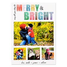 Glitter Merry and Bright Personalised Photo Christmas Card