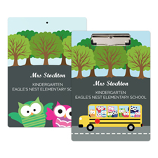 Cute Owl School Bus Personalised Clipboard