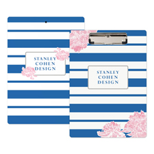 Navy Stripe Peony Personalised Clipboard