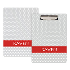 Grey Quatrefoil And Polka Dot Personalised Clipboard