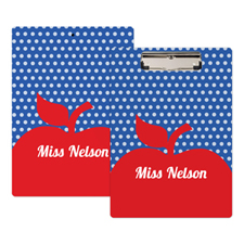 Polka Dot Red Apple Personalised Clipboard