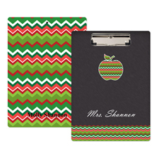 Chalkboard Chevron Apple Personalised Clipboard For Teacher