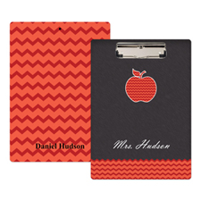Chalkboard Red Chevron Apple Personalised Clipboard For Teacher