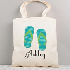 Flip Flops Personalised Summer Cotton Tote