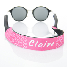 Hot Pink Circle Monogrammed Sunglass Strap