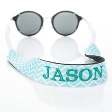 Aqua Chevron Embroidery Monogrammed Sunglass Strap Croakies