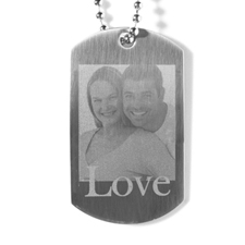 In Love Engraved Photo Dog Tag Necklace