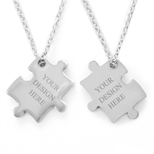 Personalised Engraved Puzzle Necklace, Custom Front and Back
