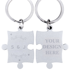 Wreath and Stars Personalised Engraved Puzzle Keychain