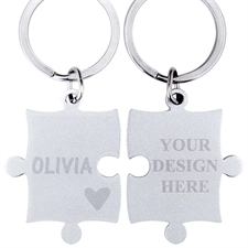 Heart Personalised Engraved Puzzle Keychain