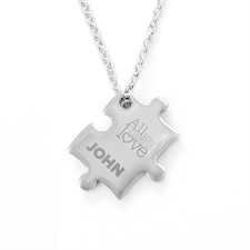 Love Is All You Need Personalised Engraved Puzzle Necklace, Custom Front