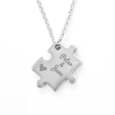 Heart Custom Engraved Name Puzzle Necklace, Custom Front