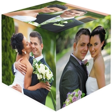 Personalised 6 Panels Wedding Wood Photo Cube