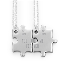 Personalised Engraved Matching Couple Puzzle Necklaces, Custom Front