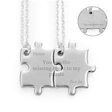 Customizable Engraved Matching Couple Puzzle Necklaces, Custom Front and Back