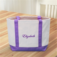 Custom Small Embroidered Tote, Purple