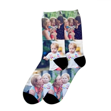 Three Collage Personalised Photo Print Unisex Socks, Medium