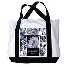 Personalised Eight Black Collage Canvas Tote Bag
