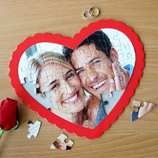 Personalised Heart Shape Photo Puzzle (Red Frame)