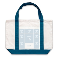 Eight White Collage Navy Custom Large Tote Bag
