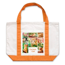 Eight White Collage Orange Custom Large Tote Bag