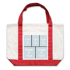 Five Black Collage Red Custom Large Tote Bag