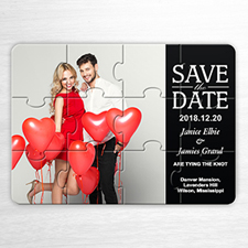 Custom Black Save The Date Invitation Puzzle